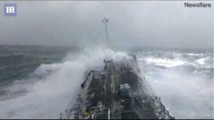 Oil tanker battles monster waves in North Atlantic Ocean