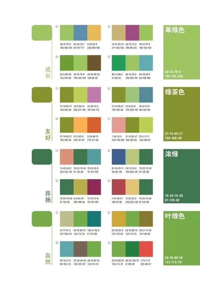 經典綠色系配色方案~ 其中包含色值~ - 壹讀