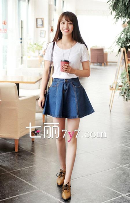 牛仔短裙搭配什麼上衣好看 T恤+牛仔短裙最具韓式風 - 壹讀