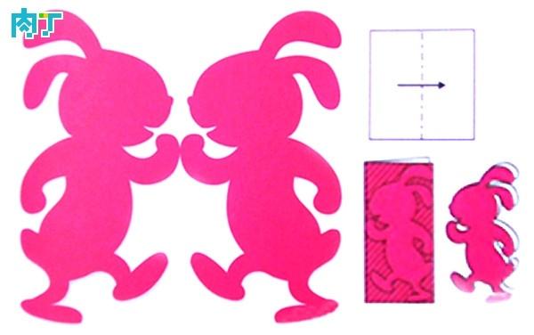 怎樣手工剪紙窗花 對稱剪紙圖案兩隻兔子的剪法圖解 - 壹讀
