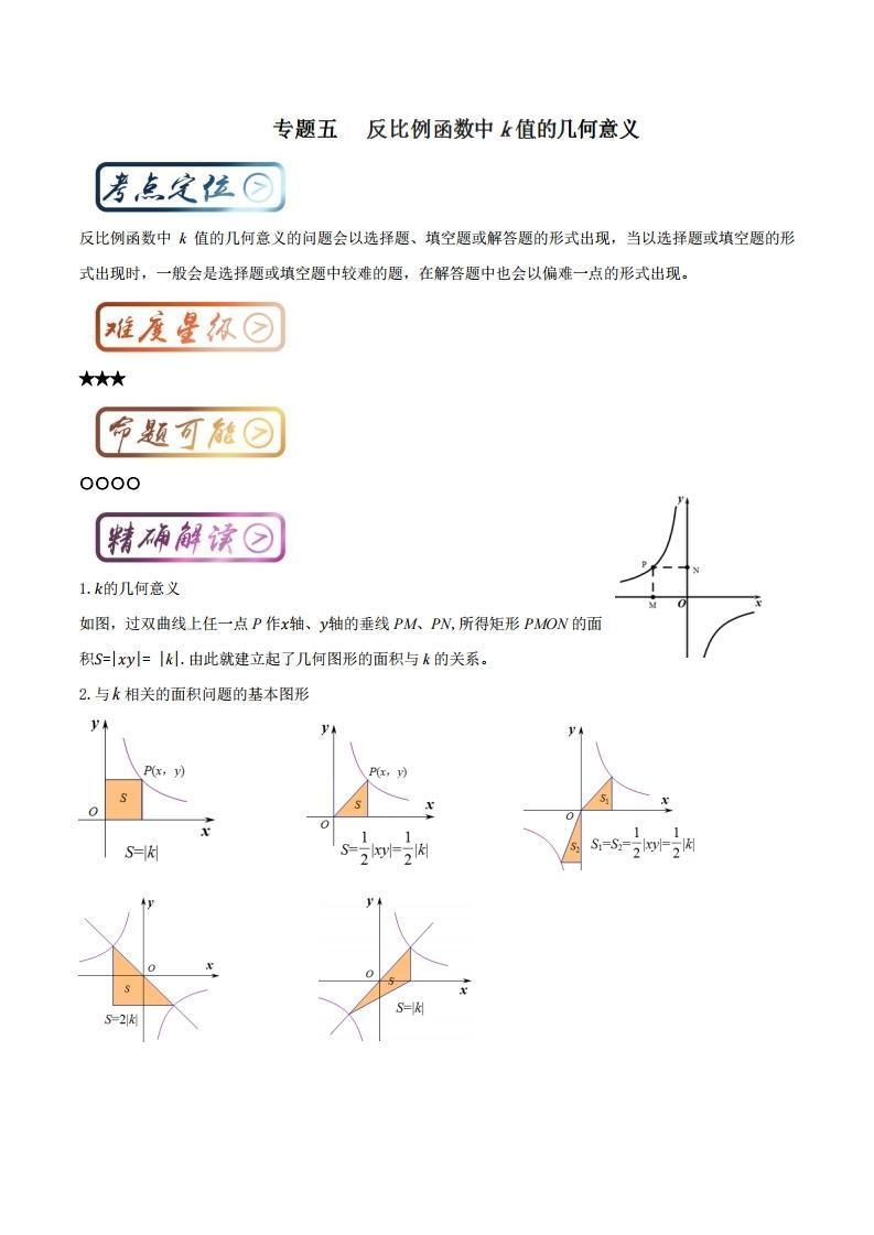 中考數學 掌握六張圖徹底突破反比例函數中k的幾何意義 - 壹讀