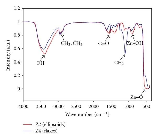 FT-IR spectra of precipitated zinc oxide: Z2 (ellipsoids