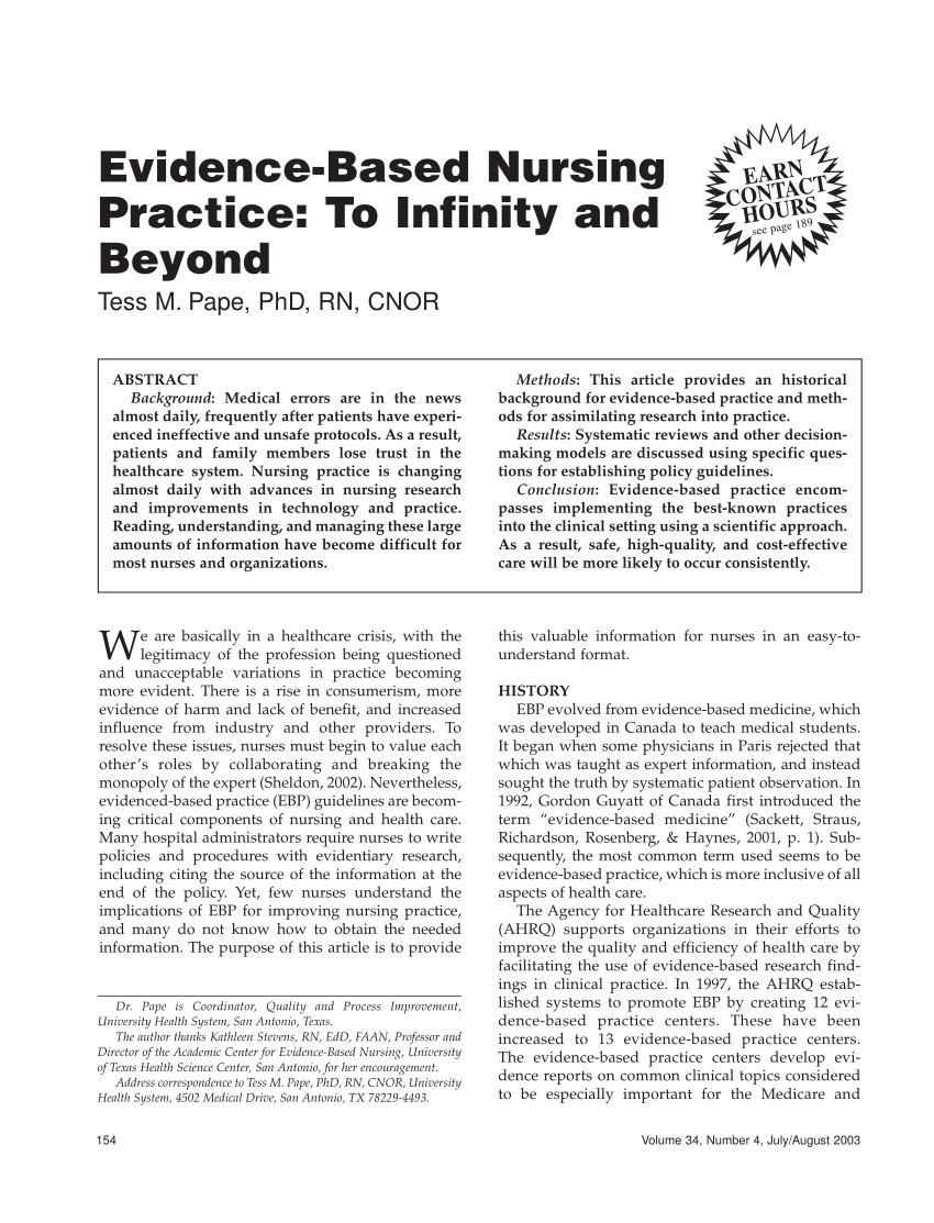 PDF Evidence Based Nursing Practice To Infinity And Beyond