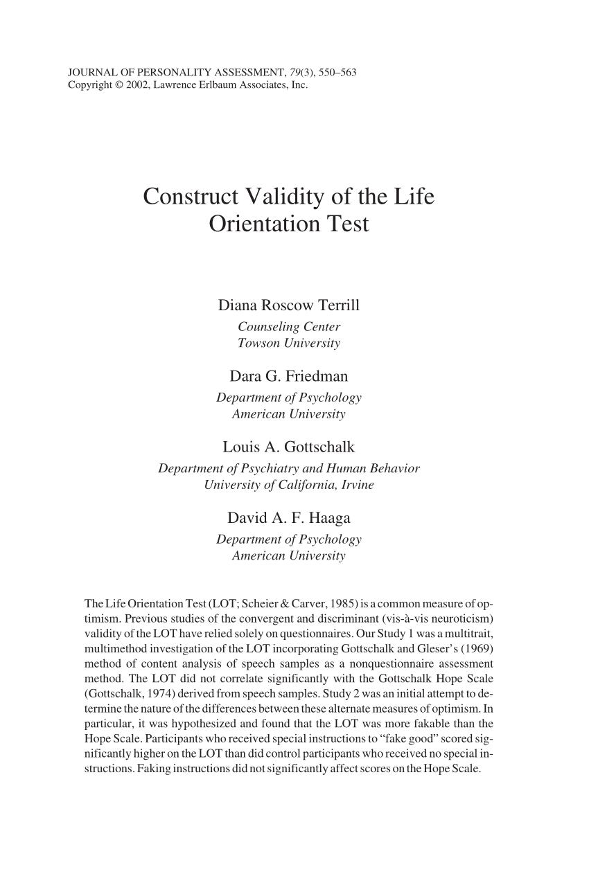 (PDF) Construct Validity of the Life Orientation Test
