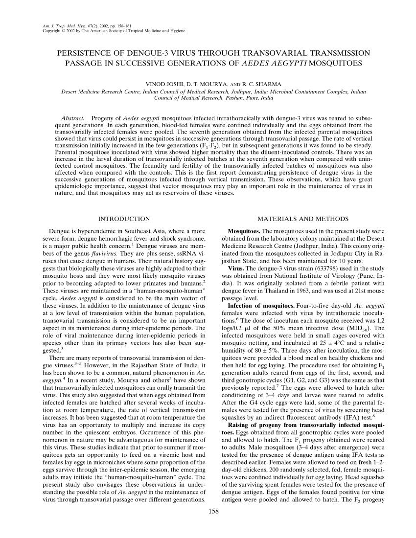 PDF) Persistence of dengue-3 virus through transovarial ...