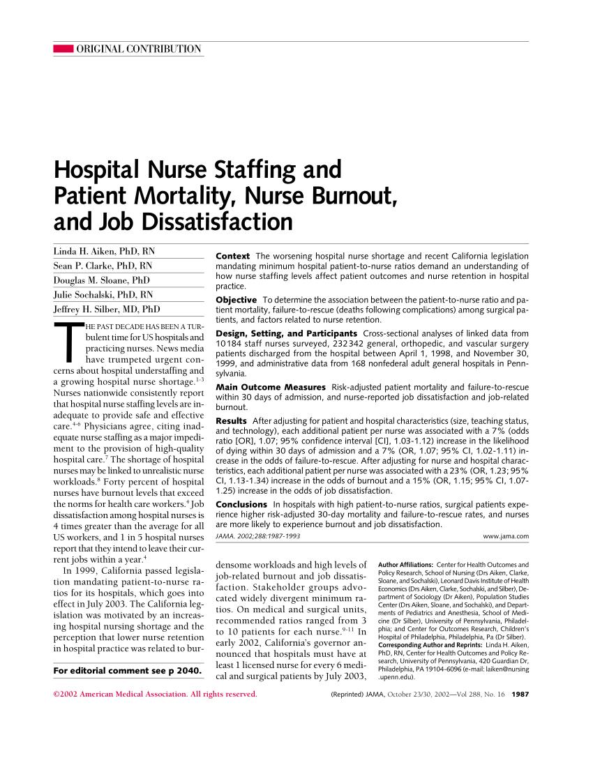 PDF Hospital Nurse Staffing And Patient Mortality Nurse Burnout