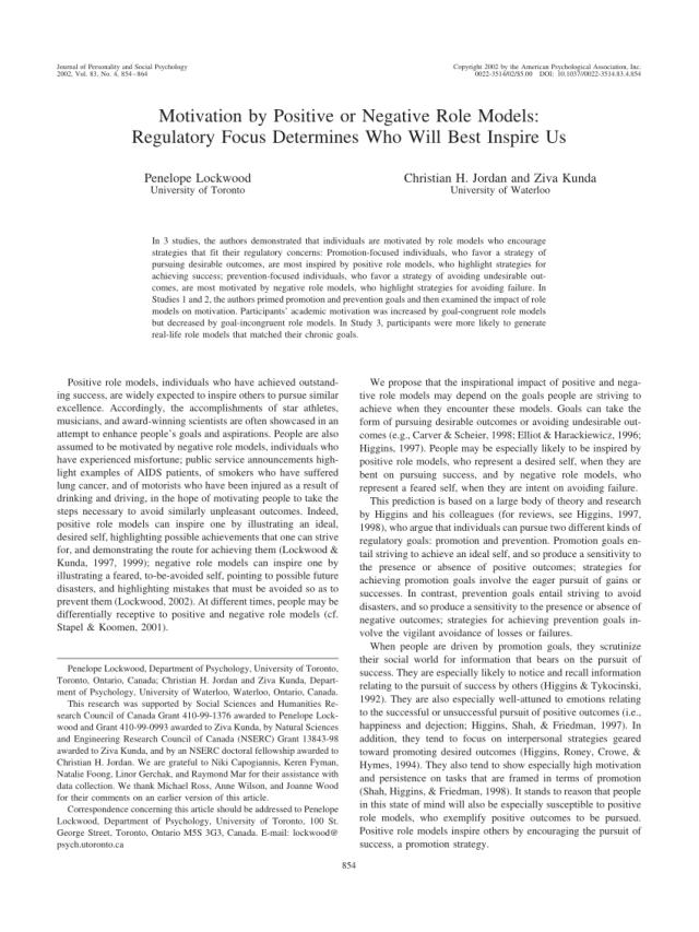 PDF) Motivation by Positive or Negative Role Models: Regulatory
