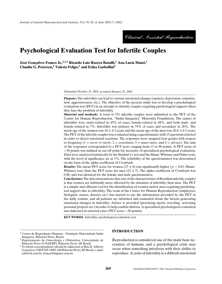 (Pdf) Psychological Evaluation Test For.