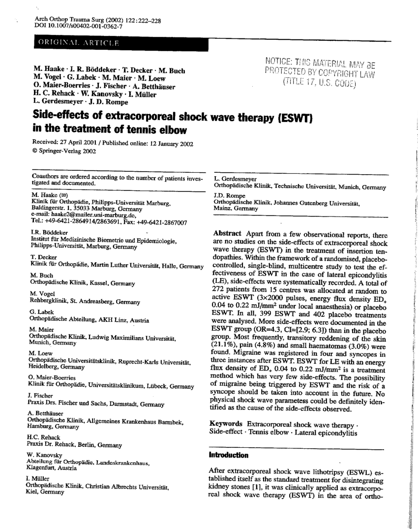 (PDF) Side-effects of extracorporeal shock wave therapy