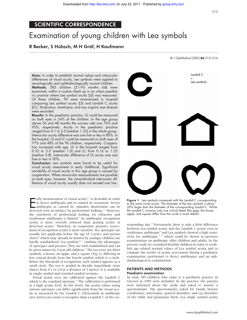 (PDF) Examination of young children with Lea symbols