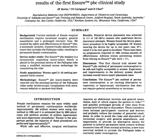 Pdf The Safety And Effectiveness Of A New Hysteroscopic Method For Permanent Birth Control Results Of The First Essure Pbc Clinical Study