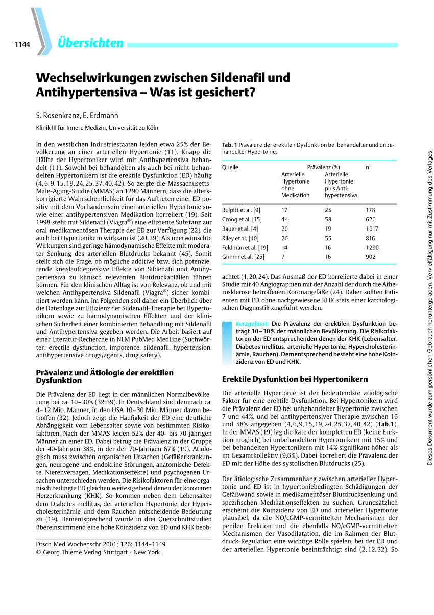 (PDF) [Interaction between sildenafil and antihypertensive