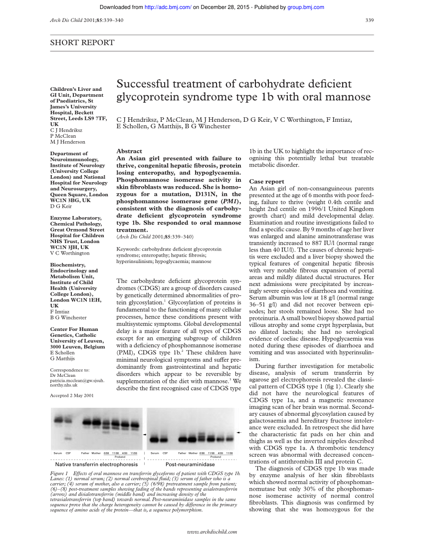 (PDF) Successful treatment of carbohydrate deficient ...