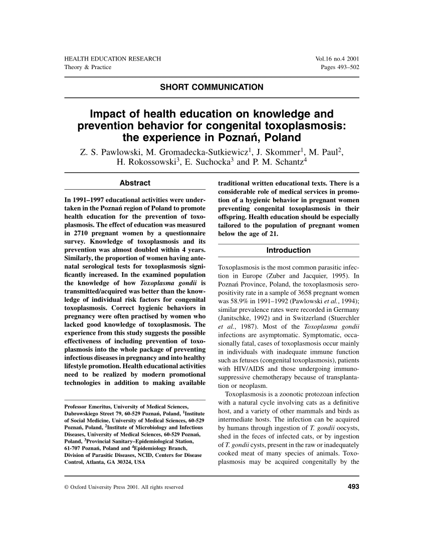 PDF) Impact of health education on knowledge and prevention ...