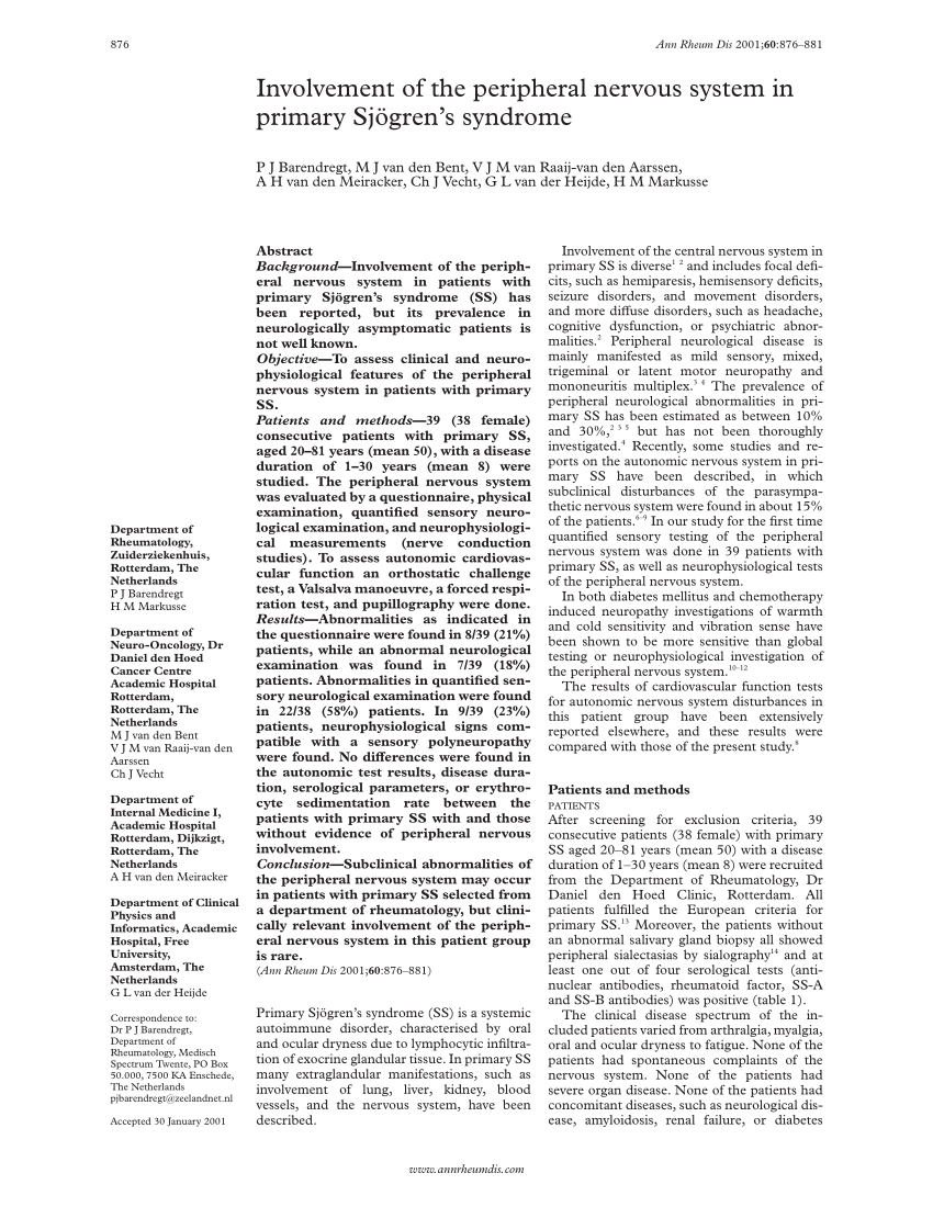 (PDF) Involvement of the peripheral nervous system in