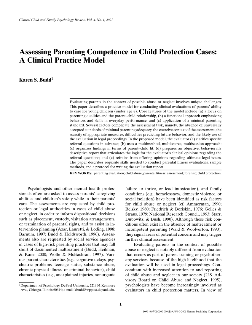 PDF Assessing Parenting Competence In Child Protection