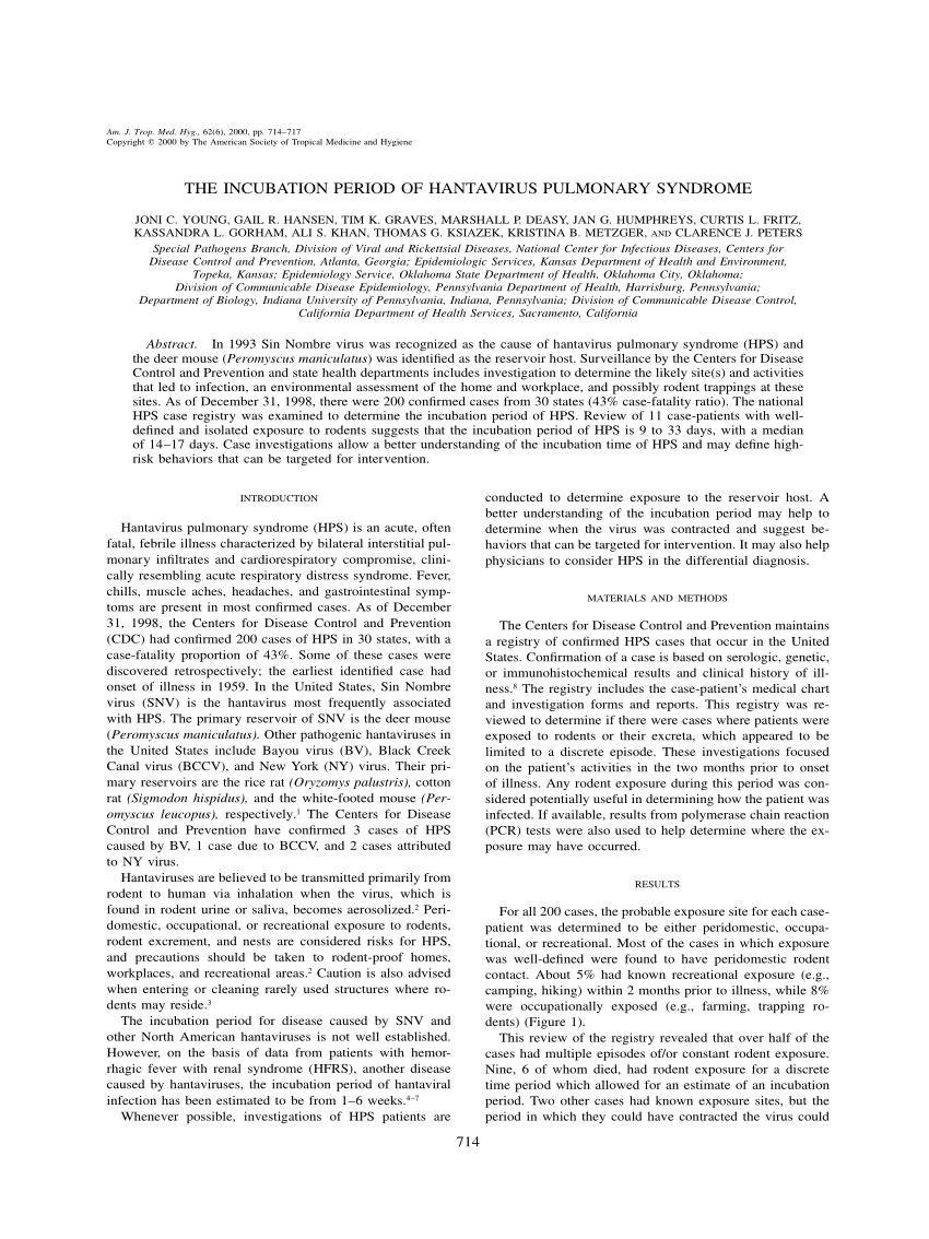 PDF) The incubation period of hantavirus pulmonary syndrome