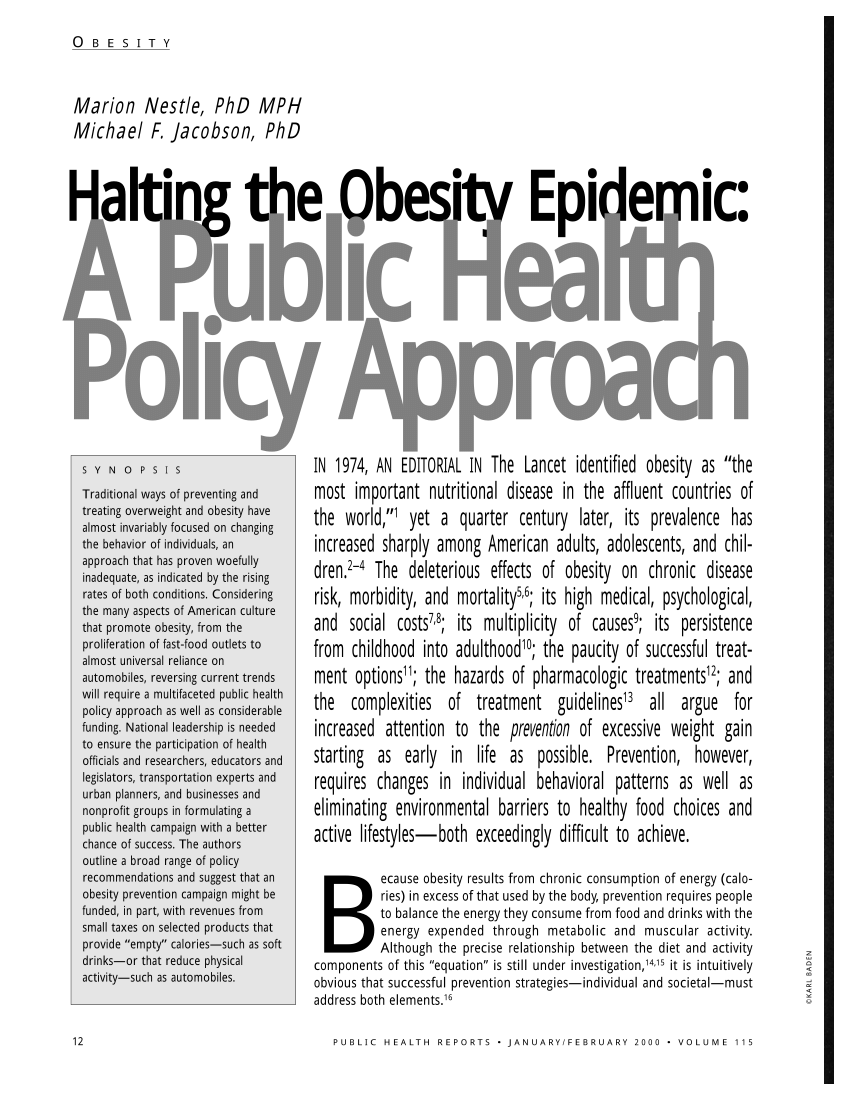 (PDF) Halting the Obesity Epidemic: A Public Health Policy
