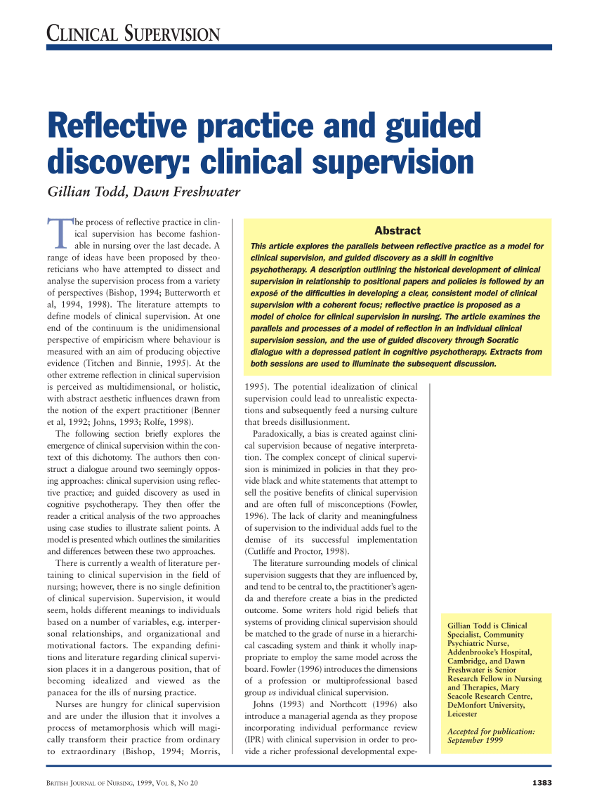 Reflective Practice And Guided Discovery Clinical