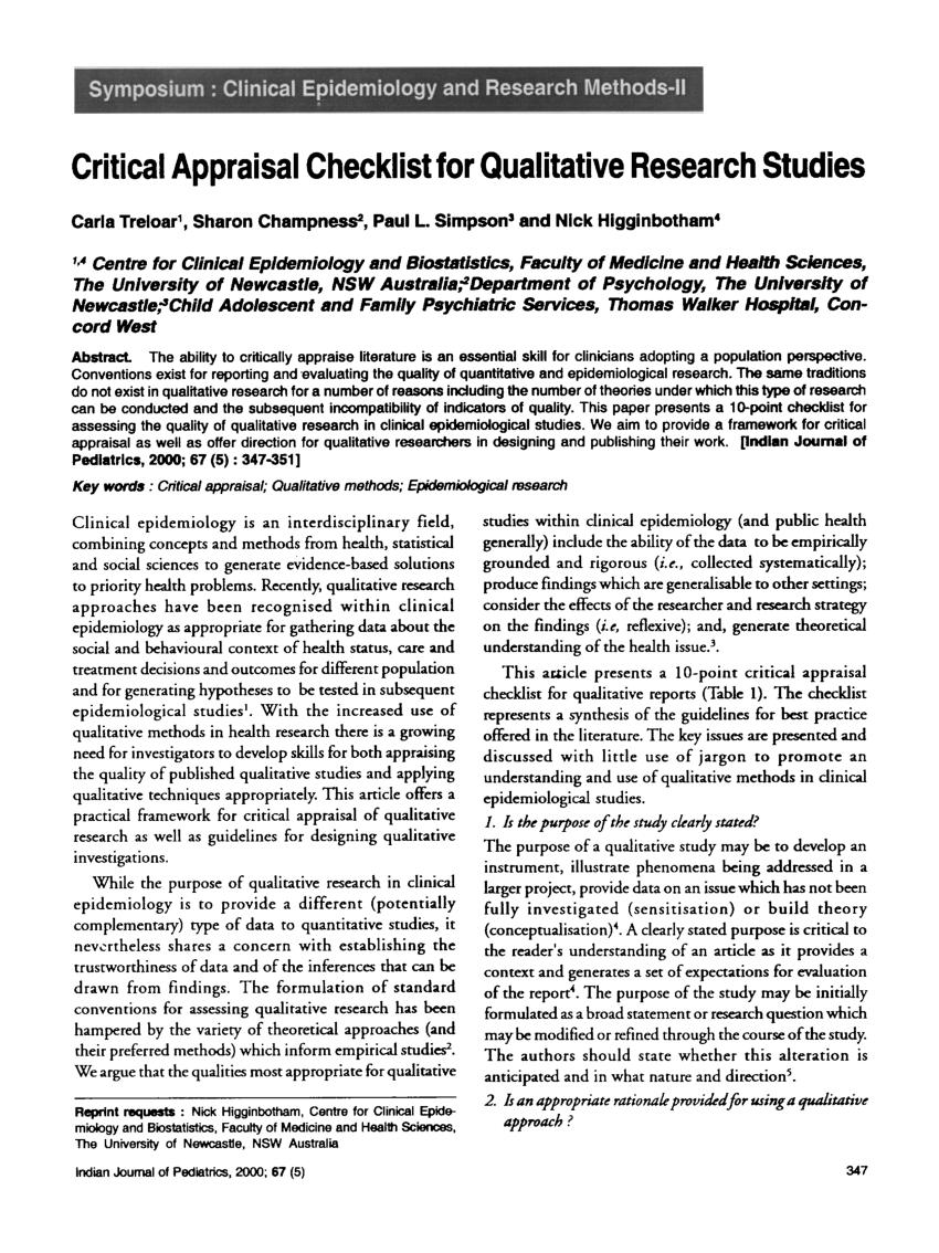 PDF Critical Appraisal Checklist For Qualitative