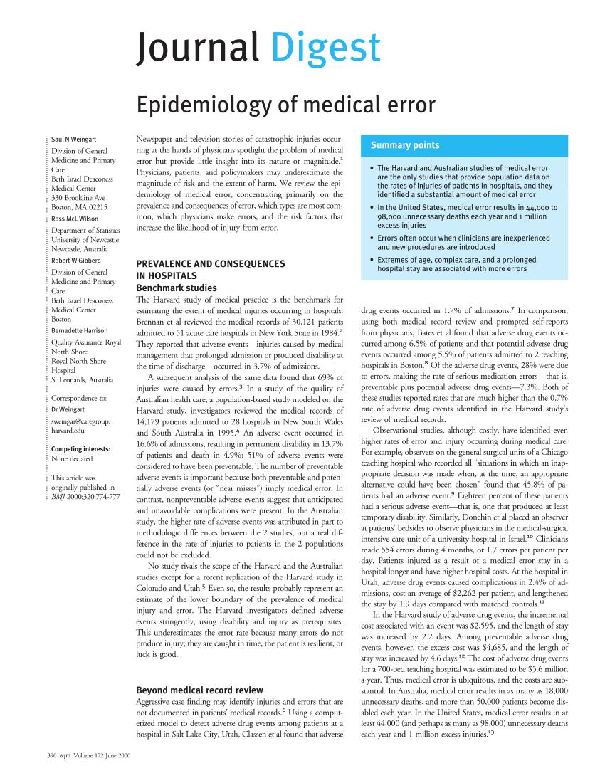 PDF Epidemiology Of Medical Error