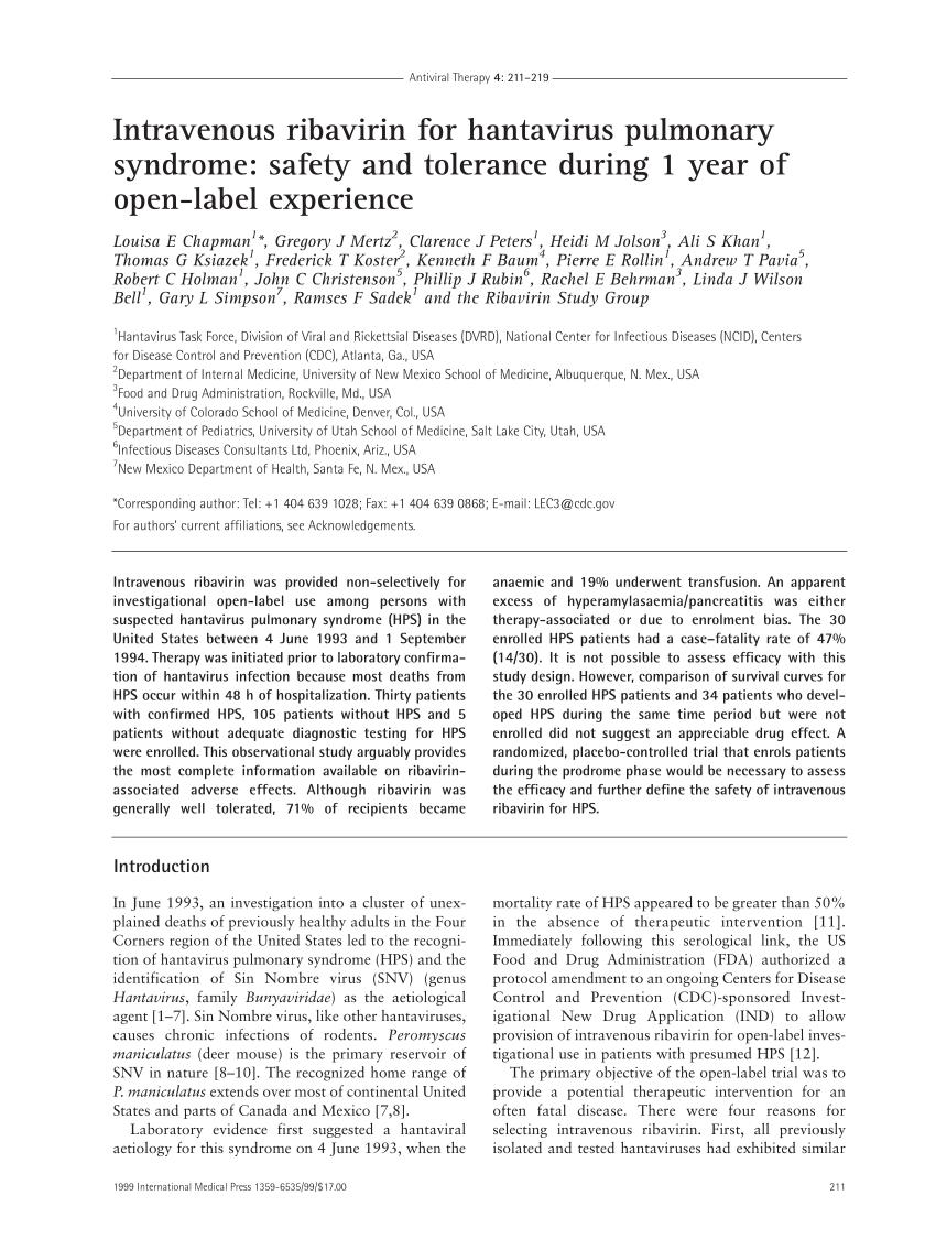 PDF) Intravenous ribavirin for hantavirus pulmonary syndrome ...