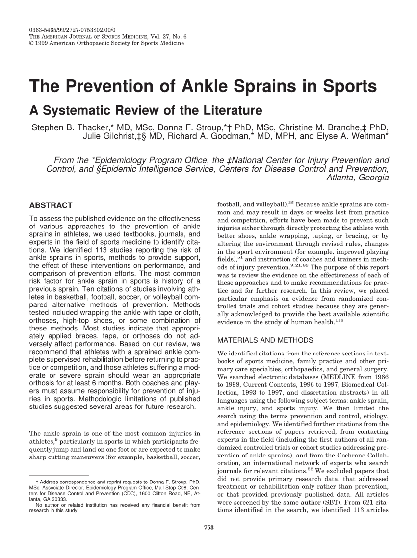 PDF The Prevention Of Ankle Sprains In Sports A Systematic Review