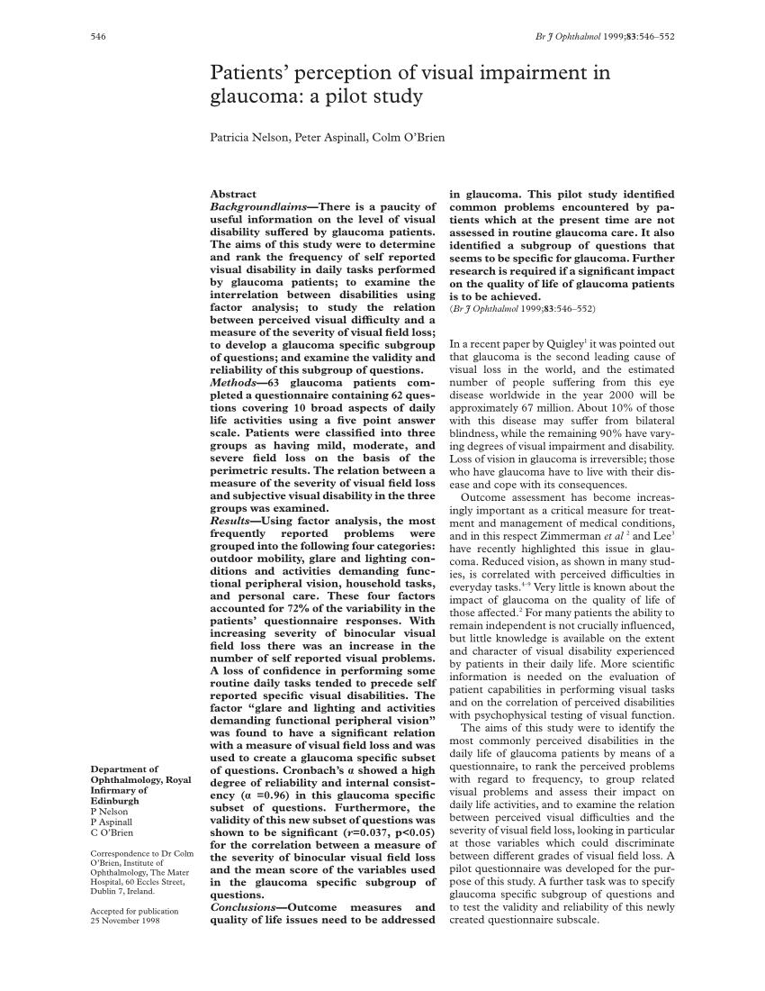 (PDF) Patients' Perception of Visual Impairment in