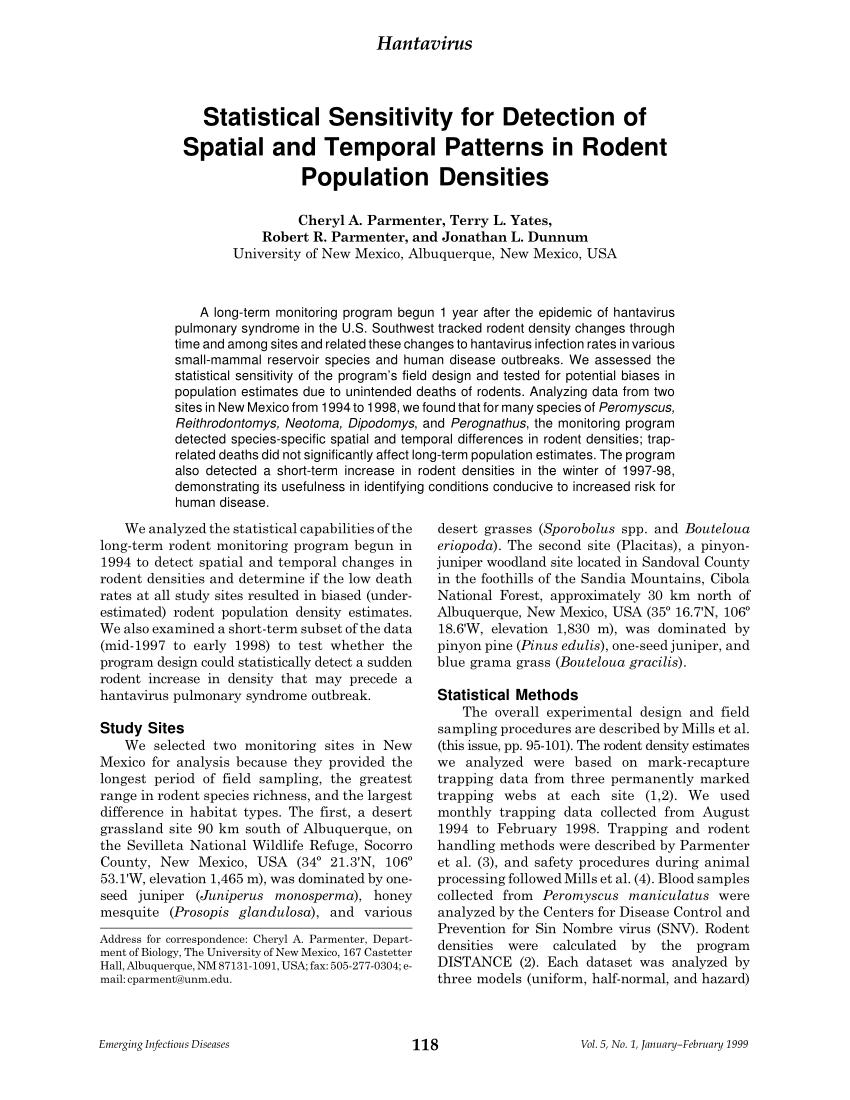 PDF) Hantavirus Statistical Sensitivity for Detection of Spatial ...
