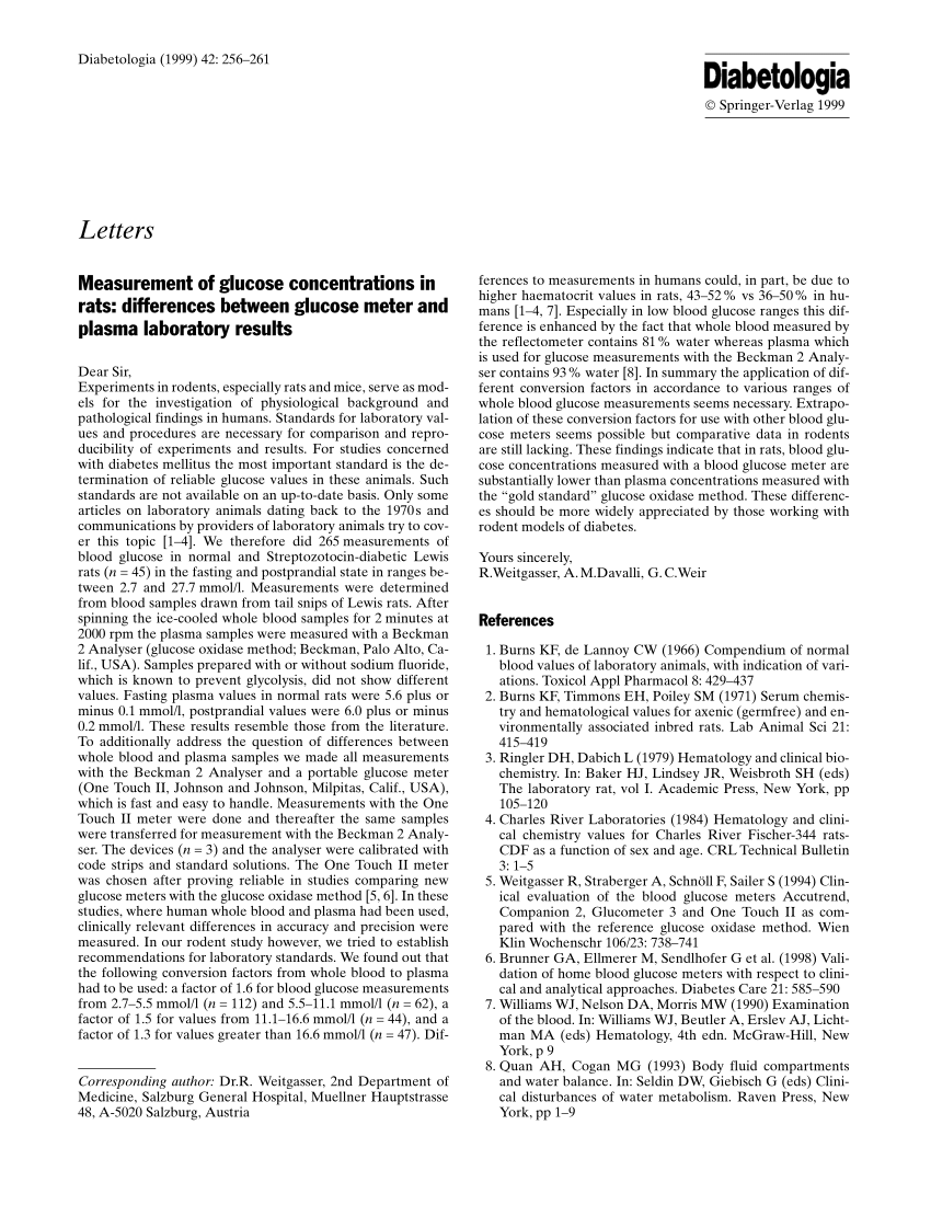 (PDF) Measurement of glucose concentrations in rats
