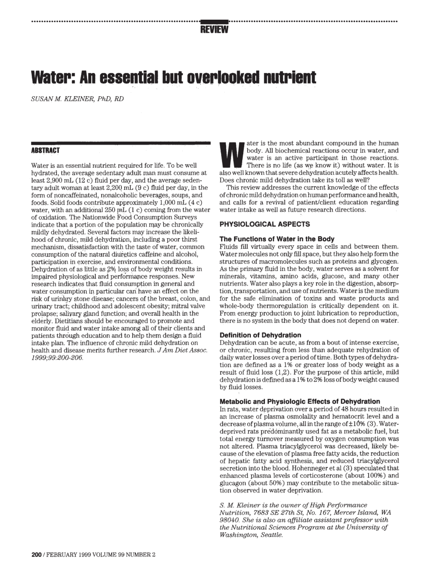 (PDF) Water: An Essential But Overlooked Nutrient