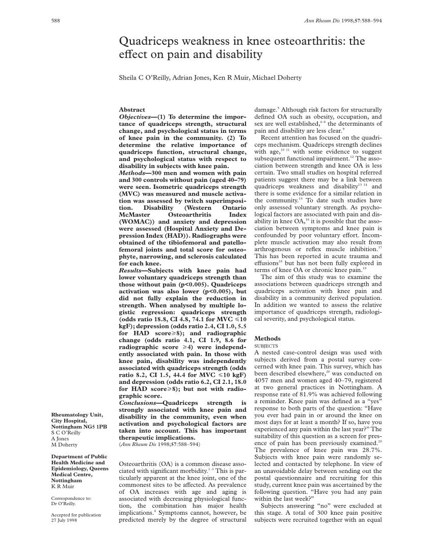 (PDF) Quadriceps weakness in knee osteoarthritis: The
