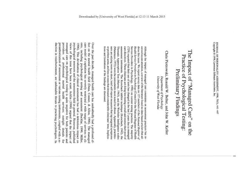 (PDF) The Impact of Managed Care on the Practice of