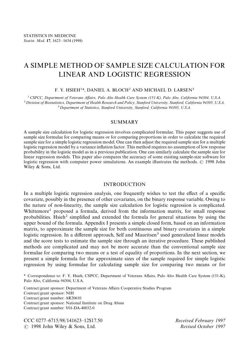 PDF A Simple Method Of Sample Size Calculation For Linear And
