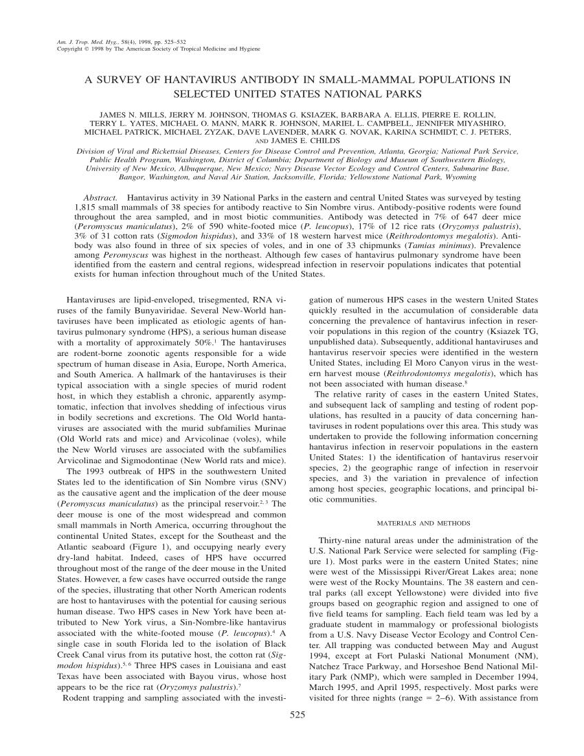 PDF) A survey of hantavirus antibody in small-mammal populations ...