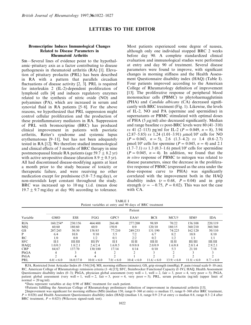 (PDF) Bromocriptine induces immunological changes related