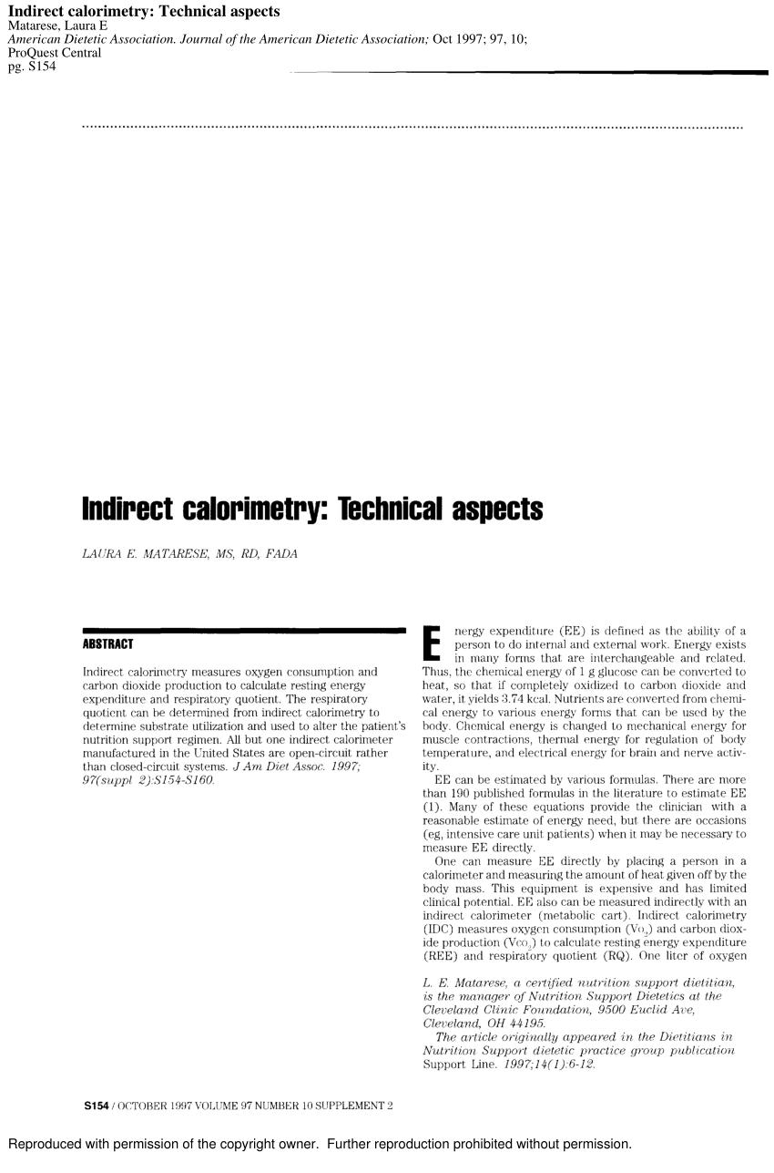 (PDF) Indirect calorimetry: technical aspects