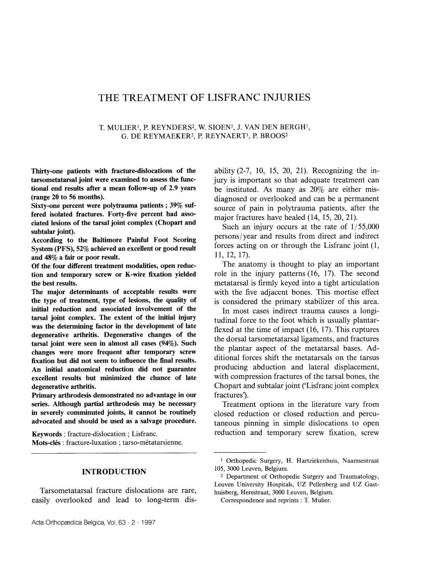 (PDF) The treatment of Lisfranc injuries