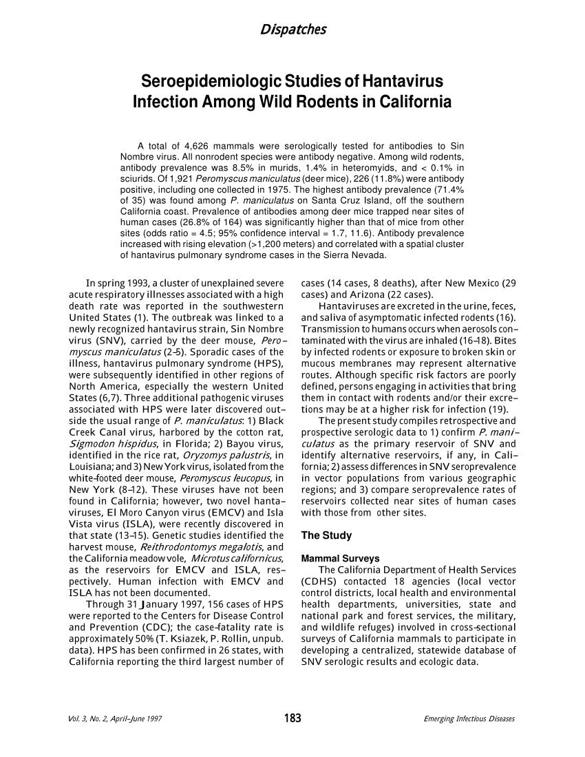 PDF) Seroepidemiologic Studies of Hantavirus Infection Among Wild ...