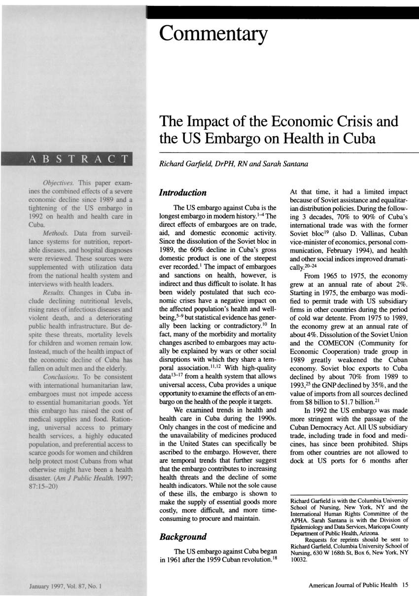 (PDF) The impact of the economic crisis and the US embargo on health in Cuba
