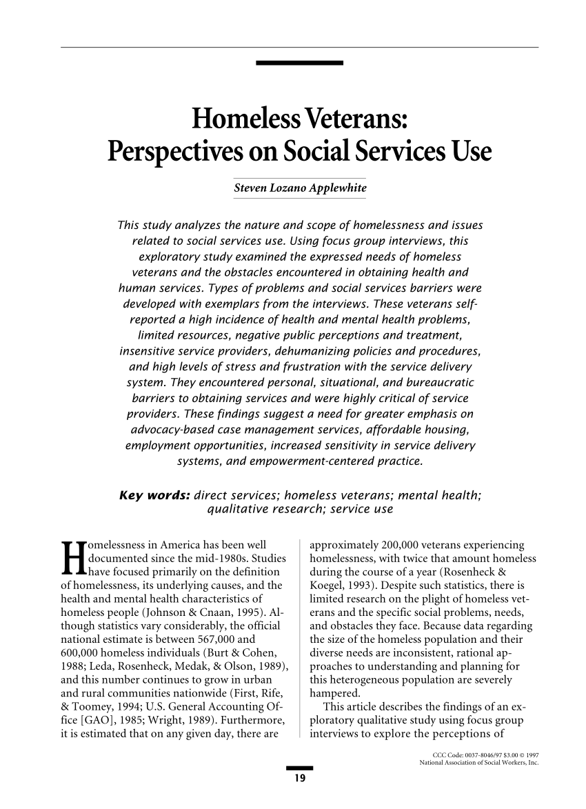 Homeless Veterans Perspectives On Social Services Use PDF Download