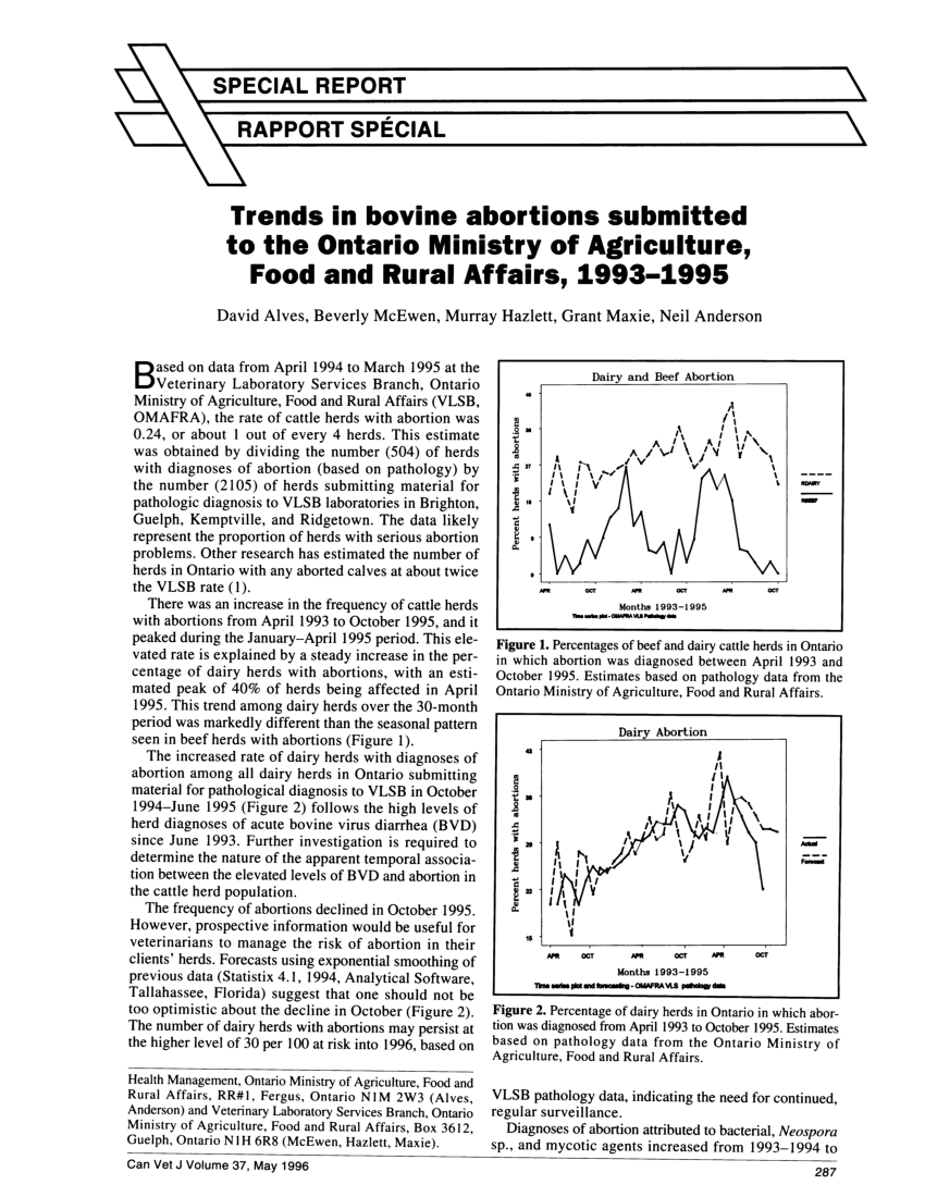 (PDF) Trends in bovine abortions submitted to the Ontario