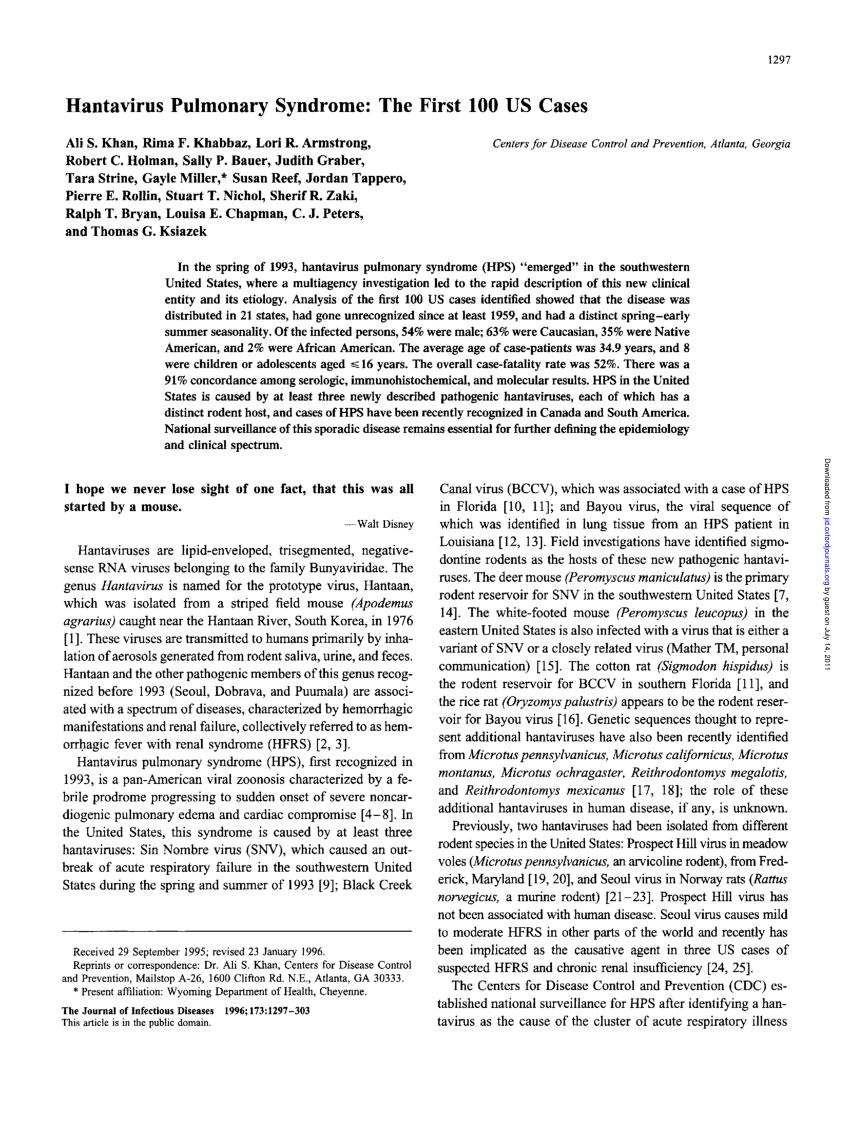 PDF) Hantavirus Pulmonary Syndrome: The First 100 US Cases