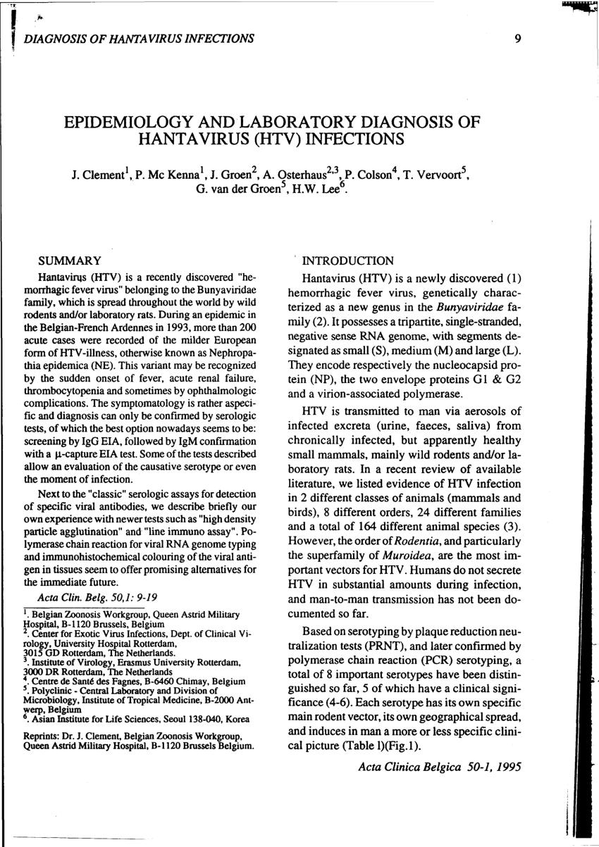 PDF) Epidemiology And Laboratory Diagnosis Of Hantavirus (Htv ...