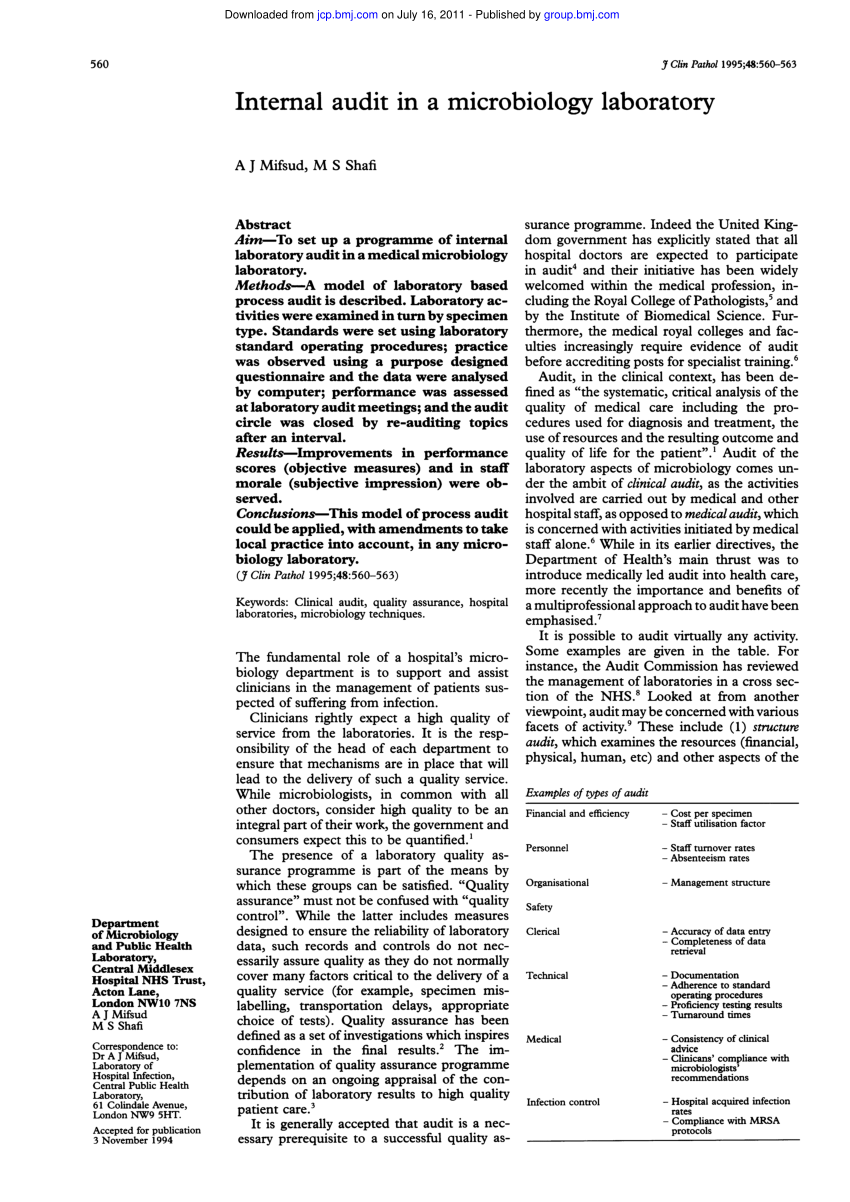 (PDF) Internal audit in a microbiology laboratory