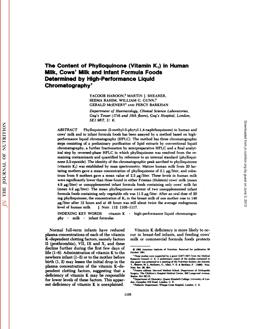 (PDF) The Content of Phylloquinone (Vitamin KJ in Human
