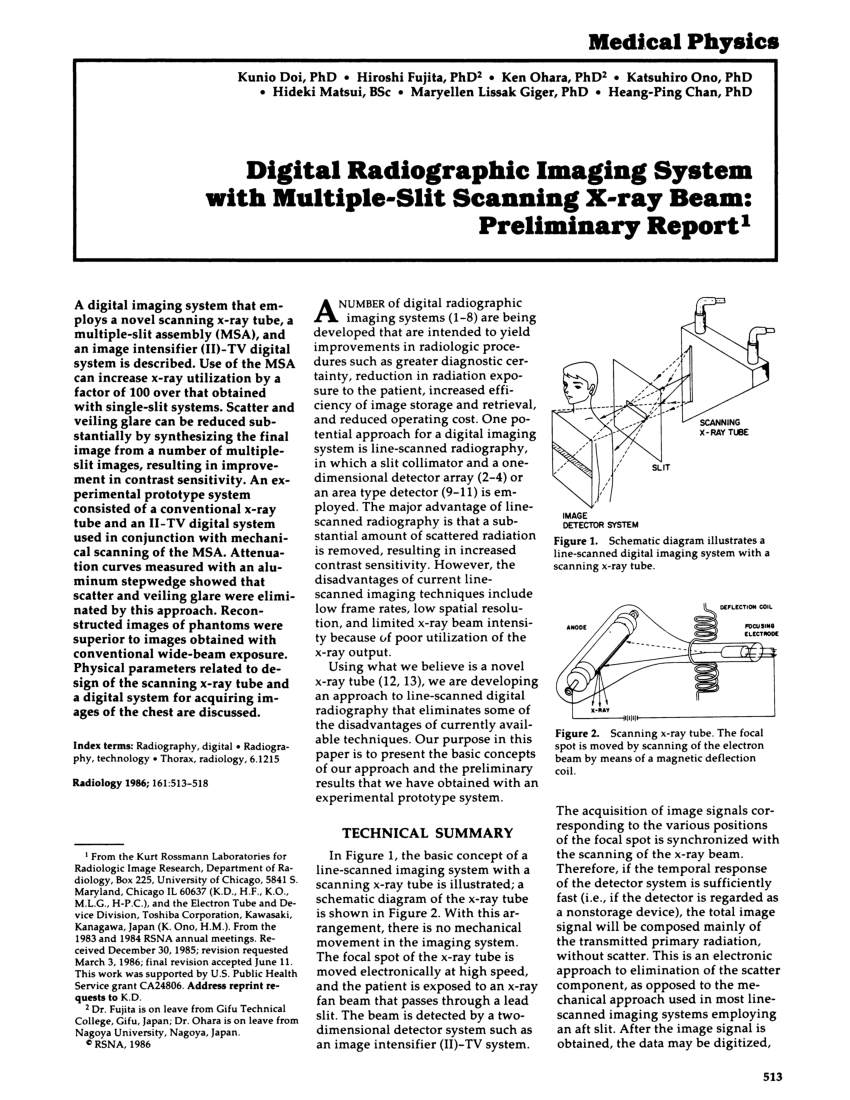 hight resolution of  pdf digital radiographic imaging system with multiple slit scanning x ray beam preliminary report