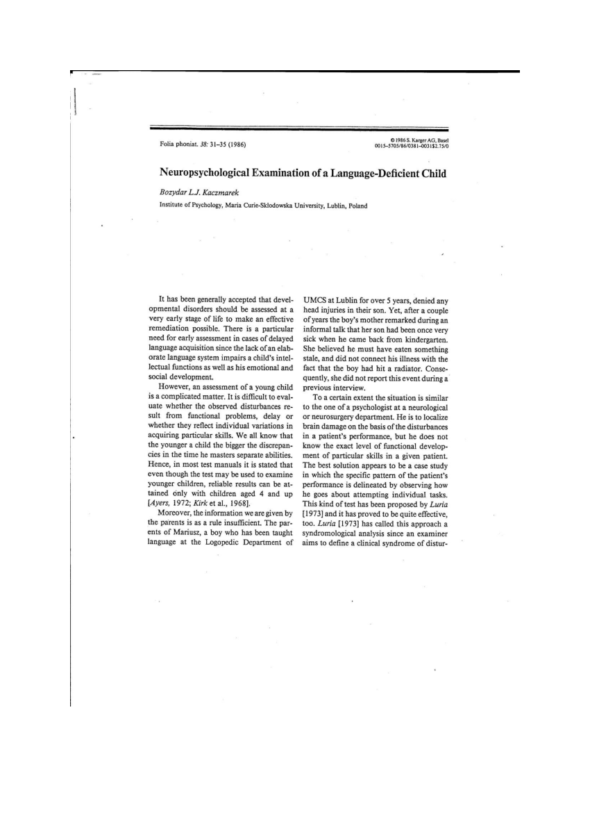 (PDF) Neuropsychological Examination of a Language