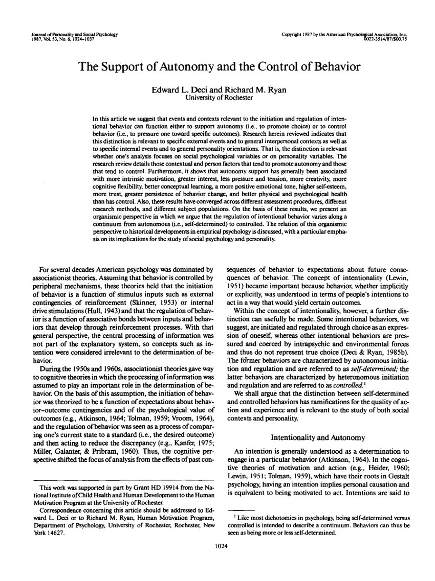 (PDF) The Support of Autonomy and the Control of Behavior