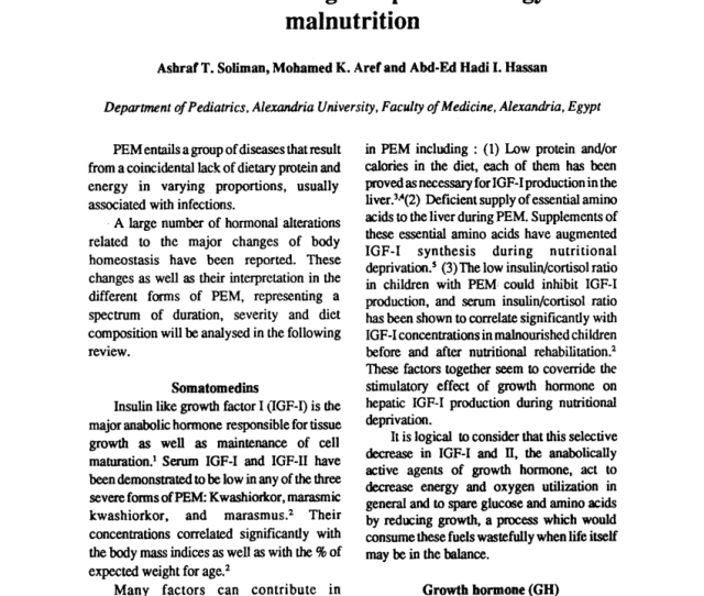 Pdf Hormonal Changes In Protein Energy Malnutrition